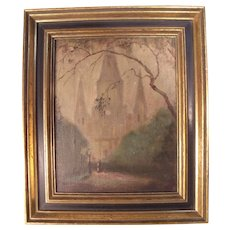 Charming c1900 Foggy Walk with Cathedral Oil Painting