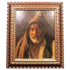 Spectacular Large Early 19th Century Franciscan Monk Oil Painting