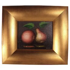 Fabulous Antique c1900 Pear & Apple Still Life Oil Painting