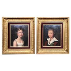 Exceptional  Pair of 19th Century Fine  French Naïve Folk Art Child Portraits