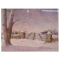 Large Vintage Bucks County Watercolor Painting of Pasture Gate