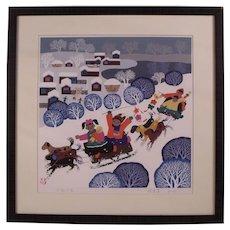 Original Painting of a Winter Scene by Jinshan Artist