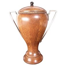 Antique Early 1900's Oak Urn, Silver Handles