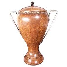 Antique Early 1900's Oak Urn, Silver Handles