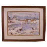 Original Watercolor of a snowy bridge scene signed by Parker