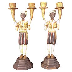 RESERVED FOR BEN!  Lovely  19th Century Pair of Painted Bronze Blackamoor Candle Stands