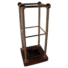 RESERVED FOR RICK! Exceptional Circa 1870 English Brass & Wood Umbrella Stand