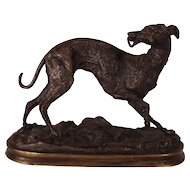 19th Century  French Bronze Whippet Animalier Dog Sculpture by Y. Mongmiey