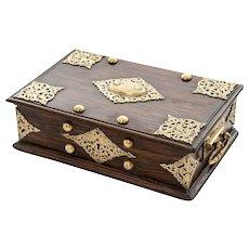 Fine 18th Century Dutch Colonial Ebony & Engraved Brass Mount  box