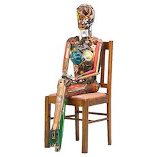 """Spectacular Life Size Found Object """"Seated Woman""""  Sculpture by Leo Sewell"""