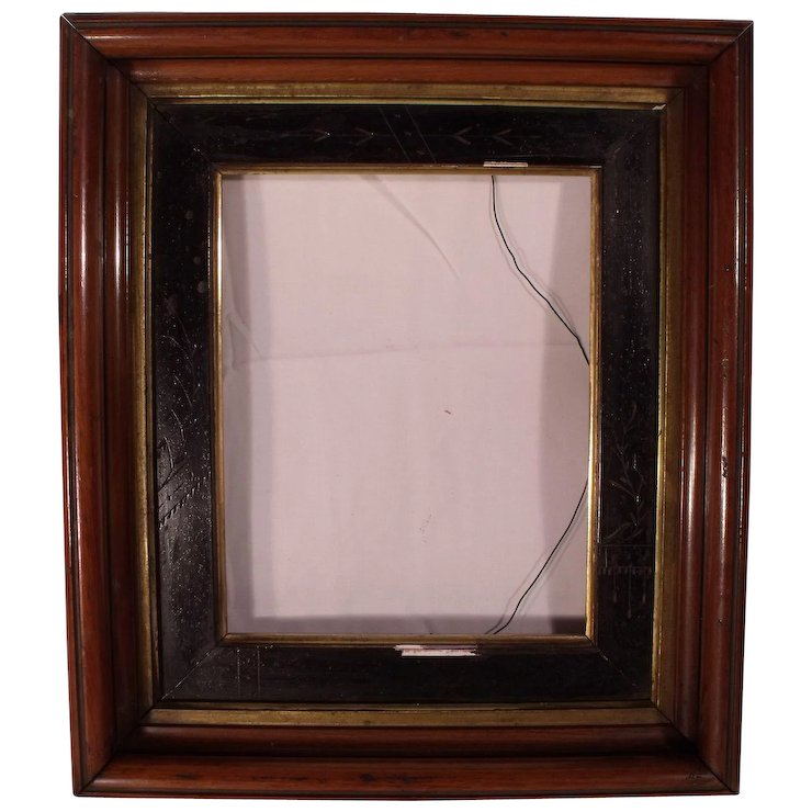 Antique Victorian Deep Shadow Box Picture Frame with Carved Panel ...
