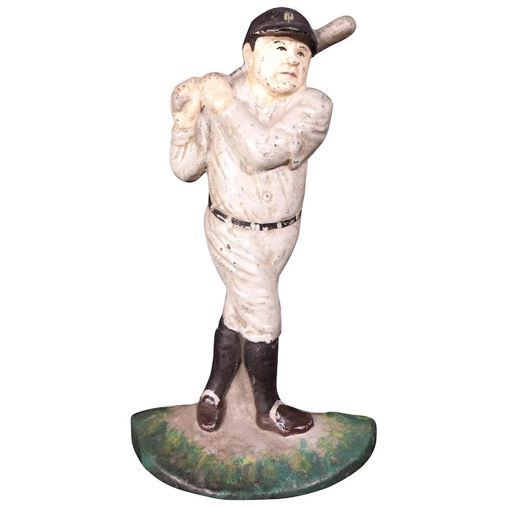 Vintage 1920u0027s Babe Ruth Cast Iron Door Stop