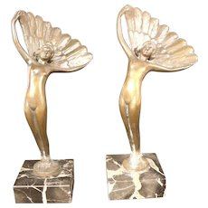 Lovely Pair of Art Deco Style Bronze Statues on Marble Plinth