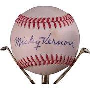 Mickey Vernon Autographed Baseball