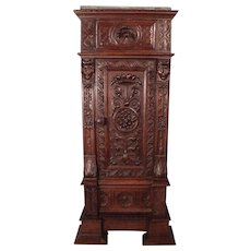 RESERVED FOR TOM! Fantastic Carved Tall French Gothic Parlor Cabinet c1810