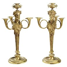 Fine Pair of Late 19th Century Louis XVI Gilt Bronze Fantasy Satyr Candelabra