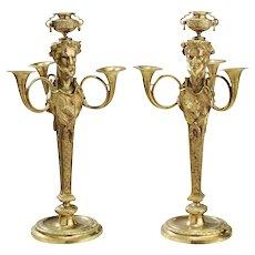 Fine Late 19th Century Gilt Bronze Fantasy Satyr Candelabra