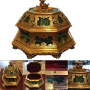 HOLIDAY SALE Important Antique TAHAN Malachite, Silver and Gilt Bronze Box