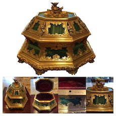 Exceptional Antique TAHAN Malachite, Silver and Gilt Bronze Box