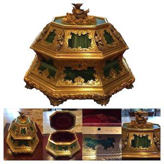 Important Antique Tahan Paris Malachite, Silver and Gilt Bronze Box