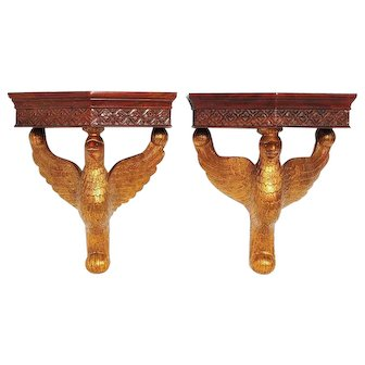 Outstanding Pair of Antique 19th Century Eagle Wall Brackets / Shelves