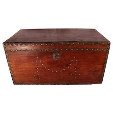 PATRICK SWAYZE Estate Antique Wood Equestrian Trunk