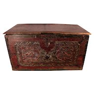 Antique Carved Wood Chest, Former Property of Patrick Swayze