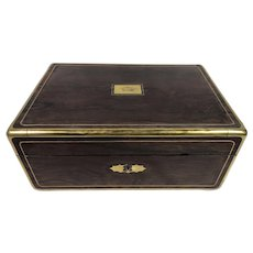 Antique French Vervelle Campaign Table Box, Crest of British Royalty