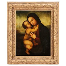 Museum Quality 16th Century Madonna & Christ Child Oil Painting, Follower of Giovanni Bellini (Italian 1430-1516)