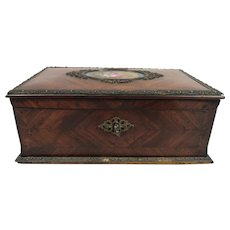 Magnificent Antique French Tahan Kingwood Dresser Box with Hand Painted Panel