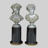 Antique Pair of 19th Century Maiden and Child Bust Sculptures by Auguste Moreau