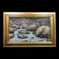 """Museum Quality Ernest Lawson (1873-1939) """"Rocky Inlet"""" Oil Painting c1914"""
