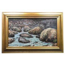 "Lovely Antique Ernest Lawson (1873-1939) ""Rocky Inlet"" Oil Painting c1914"