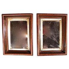 Rare Pair of Small Antique Victorian Shadow Box Frame Mirrors