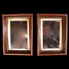 Rare Pair of Small Antique Victorian Shadow Box Frame Mirrors