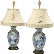 Elegant Pair of c1880 Antique Transfer Vase Lamps