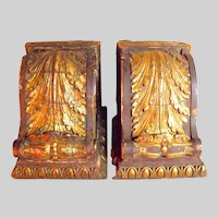 Pair of Huge Antique Gilt Wood Corbel Brackets c1885