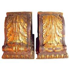 Pair of Huge Antique Gilt Wood Corbel Brackets c1885