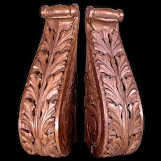 Beautiful Large Pair of Continental Carved Antique Walnut Corbel Brackets c1900