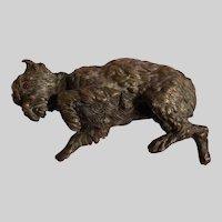 Antique Alphonse GIROUX 1840's French Bronze Sculptural Dog Paper Weight #2