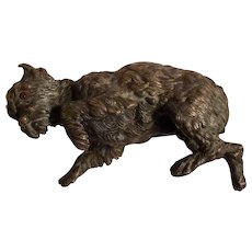 Antique GIROUX 1840's French Bronze Sculptural Dog Paper Weight #2