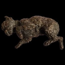 Very Rare Antique 1840's French Bronze Sculptural Dog Paper Weight by Alphonse GIROUX #2