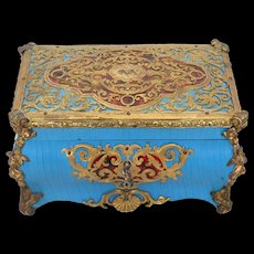 Exquisite Rare Antique TAHAN Bronze and Faux Tortoiseshell Table Box