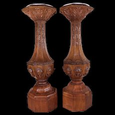Important Pair of Antique c1825 American Directoire Walnut Plinths