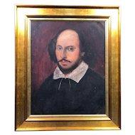 Antique Oil Painting of William Shakespeare c1875