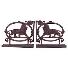 Very Rare Pair of Large c1750 Antique Cast Iron Lions