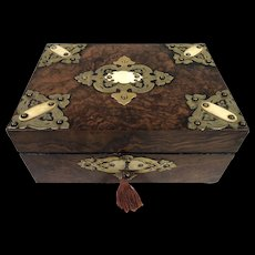 Antique Victorian Box with Brass and Bone Mounts
