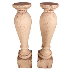 Pair of Vintage Salvage Wood Candle Stands or Plinths
