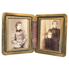 Antique Green Leather and Bronze Travel Picture Frame