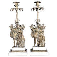 Lovely Antique Bronze and Marble Victorian Candle Stands